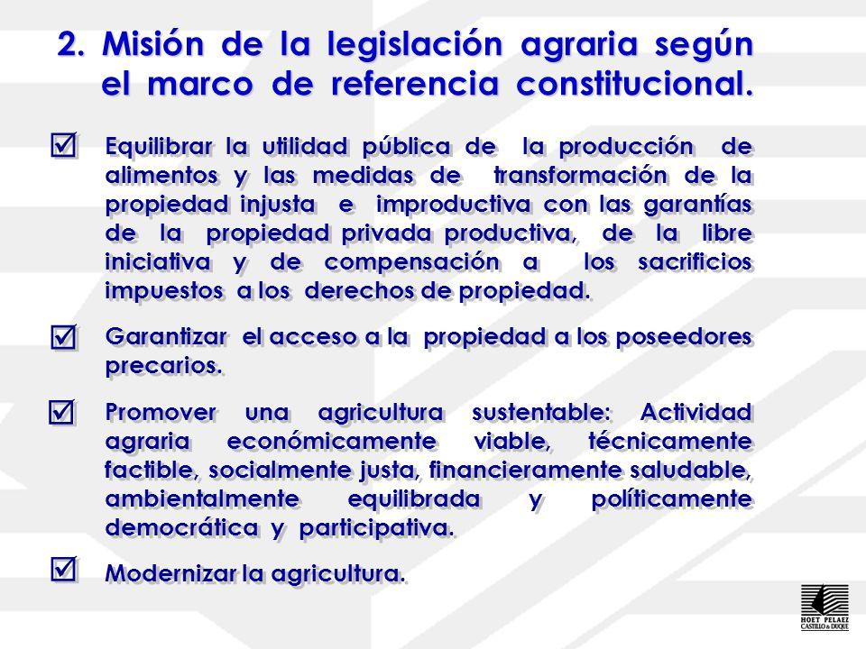 1.Marco de referencia constitucional de una legislación agraria. Políticas de promoción de la productividad y la competitividad del sector agrícola. G