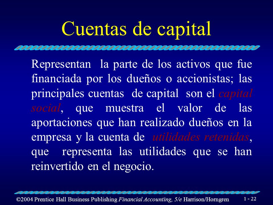 ©2004 Prentice Hall Business Publishing Financial Accounting, 5/e Harrison/Horngren 1 - 21 Cuentas de pasivos Son las que representan deudas u obligac
