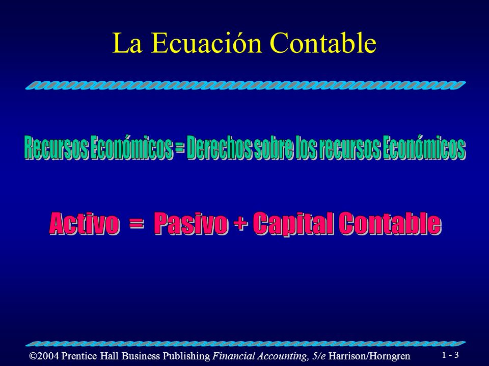 ©2004 Prentice Hall Business Publishing Financial Accounting, 5/e Harrison/Horngren 1 - 2 La Ecuación Contable Activos son los recursos económicos de