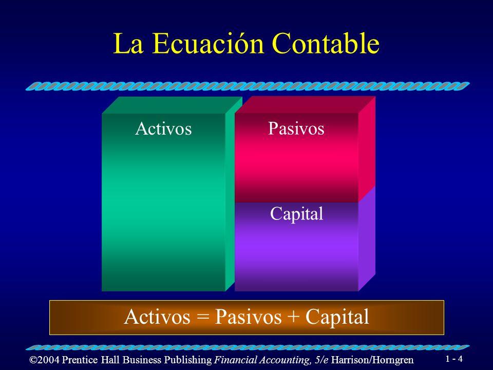 ©2004 Prentice Hall Business Publishing Financial Accounting, 5/e Harrison/Horngren 1 - 4 La Ecuación Contable Activos Capital Pasivos Activos = Pasivos + Capital