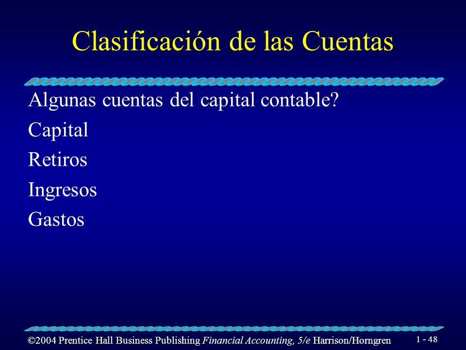 ©2004 Prentice Hall Business Publishing Financial Accounting, 5/e Harrison/Horngren 1 - 47 Clasificación de las Cuentas Algunas cuentas del pasivo? Do