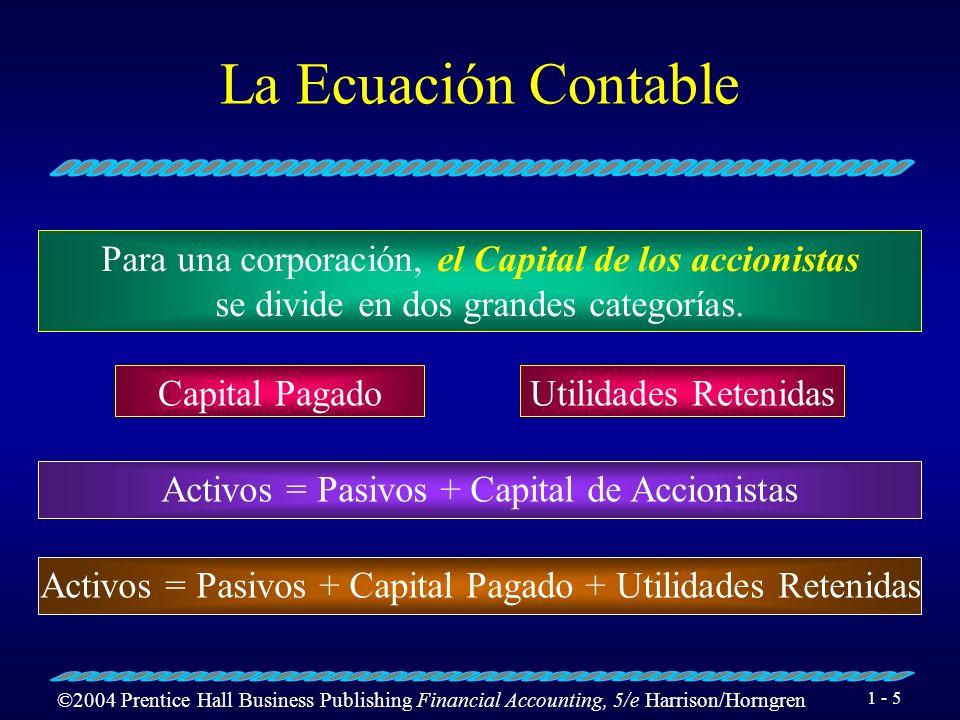 ©2004 Prentice Hall Business Publishing Financial Accounting, 5/e Harrison/Horngren 1 - 5 La Ecuación Contable Para una corporación, el Capital de los accionistas se divide en dos grandes categorías.