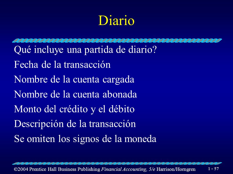 ©2004 Prentice Hall Business Publishing Financial Accounting, 5/e Harrison/Horngren 1 - 56 Diario Qué es un diario? Es una lista en orden cronológico