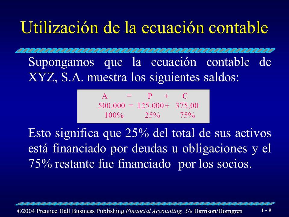 ©2004 Prentice Hall Business Publishing Financial Accounting, 5/e Harrison/Horngren 1 - 8 Utilización de la ecuación contable Supongamos que la ecuación contable de XYZ, S.A.
