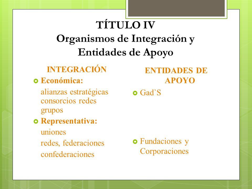TÍTULO IV Organismos de Integración y Entidades de Apoyo INTEGRACIÓN Económica: alianzas estratégicas consorcios redes grupos Representativa: uniones