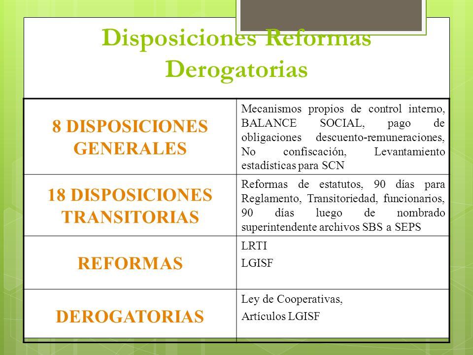 Disposiciones Reformas Derogatorias 8 DISPOSICIONES GENERALES Mecanismos propios de control interno, BALANCE SOCIAL, pago de obligaciones descuento-re