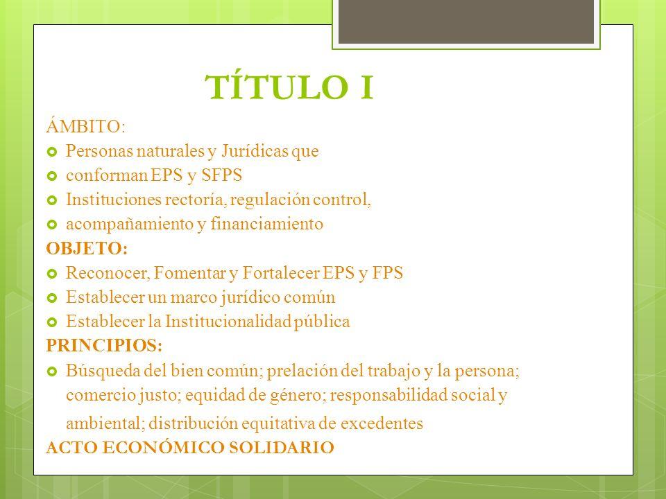 TÍTULO I ÁMBITO: Personas naturales y Jurídicas que conforman EPS y SFPS Instituciones rectoría, regulación control, acompañamiento y financiamiento O