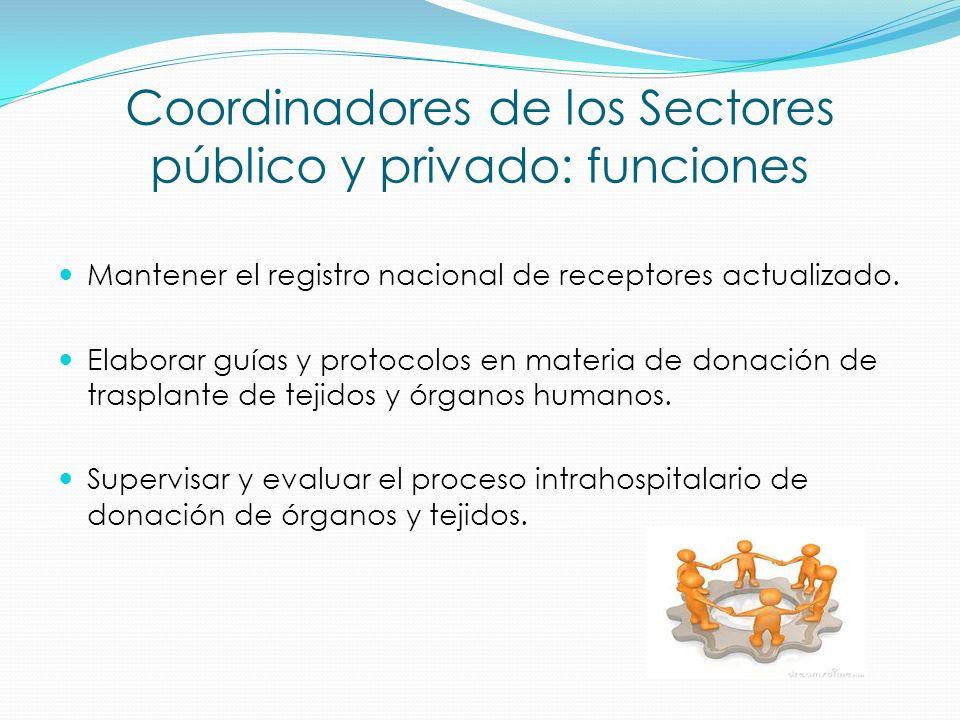 Coordinadores de los Sectores público y privado: funciones Mantener el registro nacional de receptores actualizado. Elaborar guías y protocolos en mat