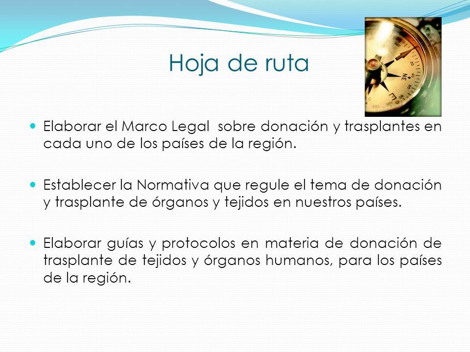 Hoja de ruta Elaborar el Marco Legal sobre donación y trasplantes en cada uno de los países de la región. Establecer la Normativa que regule el tema d