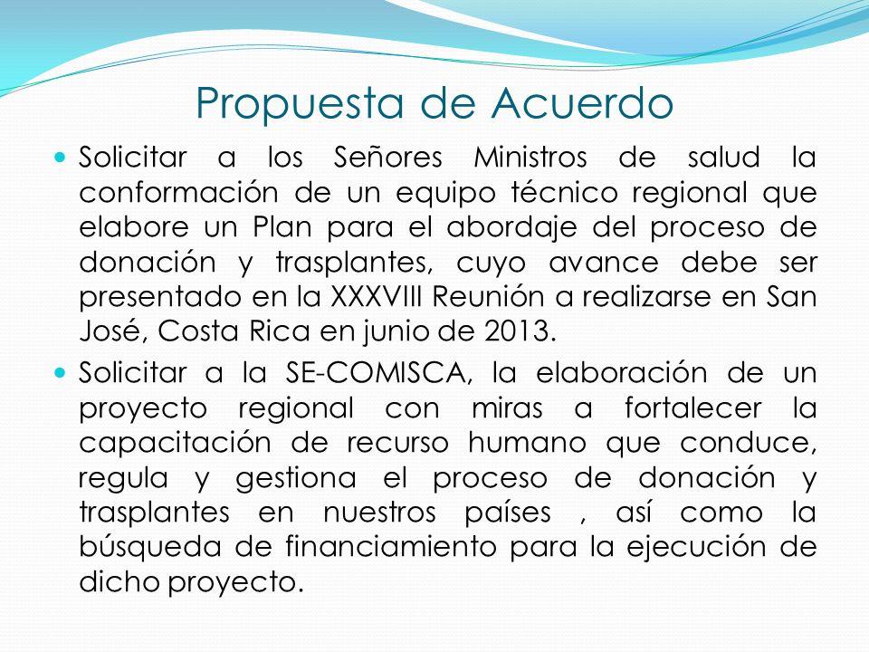Propuesta de Acuerdo Solicitar a los Señores Ministros de salud la conformación de un equipo técnico regional que elabore un Plan para el abordaje del