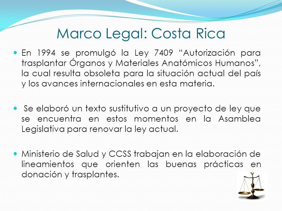 Marco Legal: Costa Rica En 1994 se promulgó la Ley 7409 Autorización para trasplantar Órganos y Materiales Anatómicos Humanos, la cual resulta obsolet