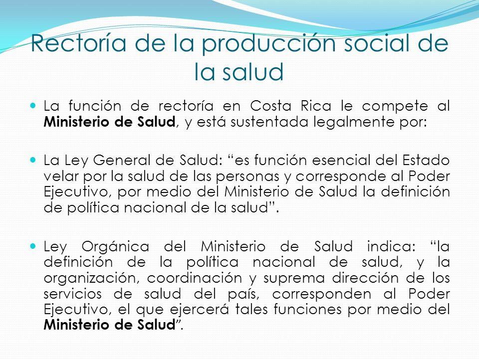 La función de rectoría en Costa Rica le compete al Ministerio de Salud, y está sustentada legalmente por: La Ley General de Salud: es función esencial