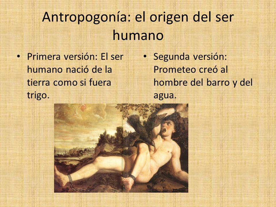 Antropogonía: el origen del ser humano Primera versión: El ser humano nació de la tierra como si fuera trigo. Segunda versión: Prometeo creó al hombre