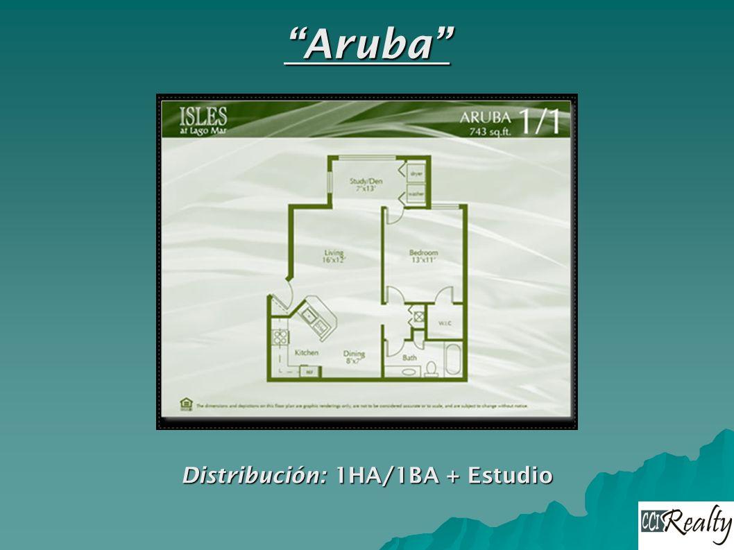 Aruba Distribución: 1HA/1BA + Estudio