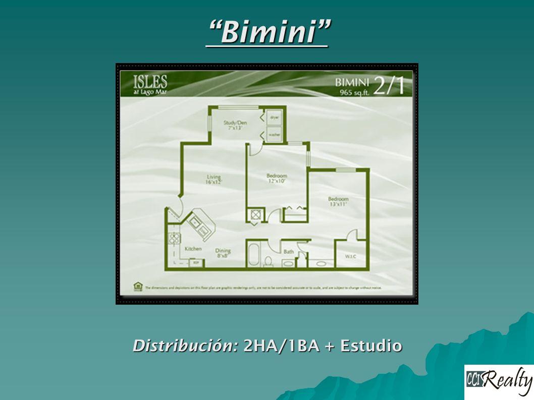 Bimini Distribución: 2HA/1BA + Estudio