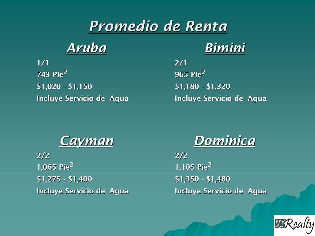 Aruba1/1 743 Pie 2 $1,020 - $1,150 Incluye Servicio de Agua Bimini2/1 965 Pie 2 $1,180 - $1,320 Incluye Servicio de Agua Cayman2/2 1,065 Pie 2 $1,275 - $1,400 Incluye Servicio de Agua Dominica2/2 1,105 Pie 2 $1,350 - $1,480 Incluye Servicio de Agua Promedio de Renta