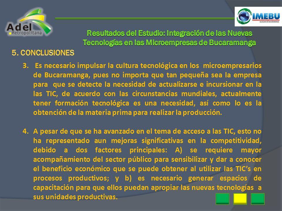 3. Es necesario impulsar la cultura tecnológica en los microempresarios de Bucaramanga, pues no importa que tan pequeña sea la empresa para que se det