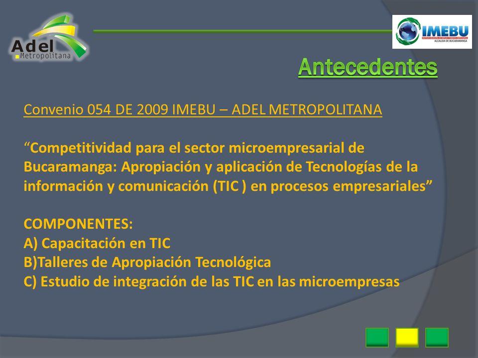 Convenio 054 DE 2009 IMEBU – ADEL METROPOLITANA Competitividad para el sector microempresarial de Bucaramanga: Apropiación y aplicación de Tecnologías