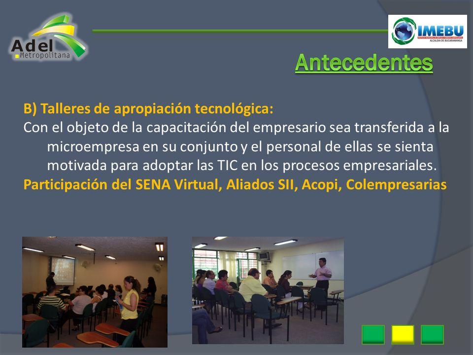 B) Talleres de apropiación tecnológica: Con el objeto de la capacitación del empresario sea transferida a la microempresa en su conjunto y el personal