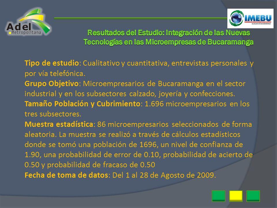 Tipo de estudio: Cualitativo y cuantitativa, entrevistas personales y por vía telefónica. Grupo Objetivo: Microempresarios de Bucaramanga en el sector