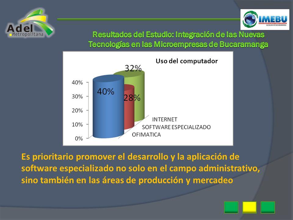 Uso del computador Es prioritario promover el desarrollo y la aplicación de software especializado no solo en el campo administrativo, sino también en