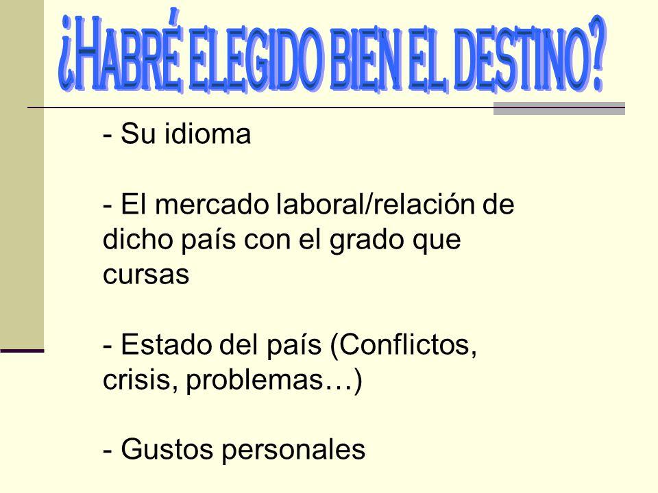 - Su idioma - El mercado laboral/relación de dicho país con el grado que cursas - Estado del país (Conflictos, crisis, problemas…) - Gustos personales
