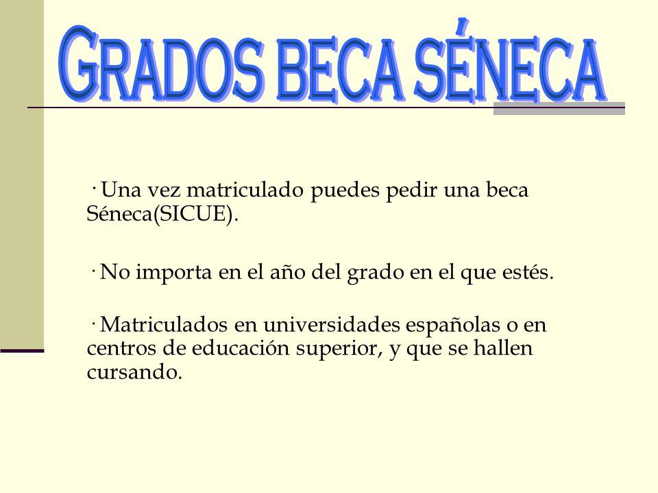 · Una vez matriculado puedes pedir una beca Séneca(SICUE). · No importa en el año del grado en el que estés. · Matriculados en universidades españolas