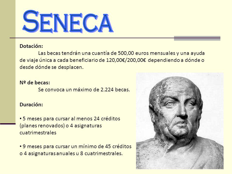 Dotación: Las becas tendrán una cuantía de 500,00 euros mensuales y una ayuda de viaje única a cada beneficiario de 120,00/200,00 dependiendo a dónde