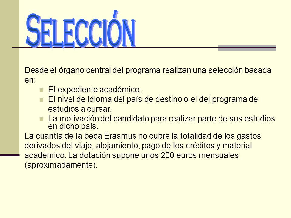 Desde el órgano central del programa realizan una selección basada en: El expediente académico. El nivel de idioma del país de destino o el del progra