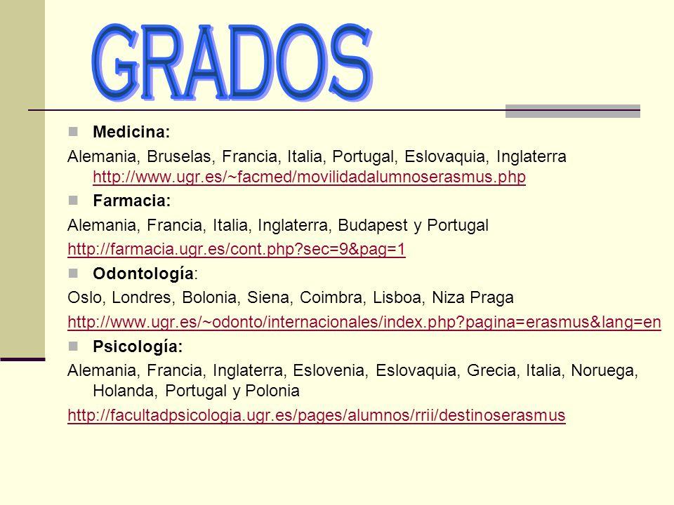 Medicina: Alemania, Bruselas, Francia, Italia, Portugal, Eslovaquia, Inglaterra http://www.ugr.es/~facmed/movilidadalumnoserasmus.php http://www.ugr.e