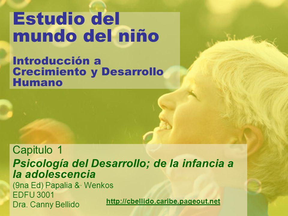 Estudio del mundo del niño Introducción a Crecimiento y Desarrollo Humano Capitulo 1 Psicología del Desarrollo; de la infancia a la adolescencia (9na Ed) Papalia &· Wenkos EDFU 3001 Dra.