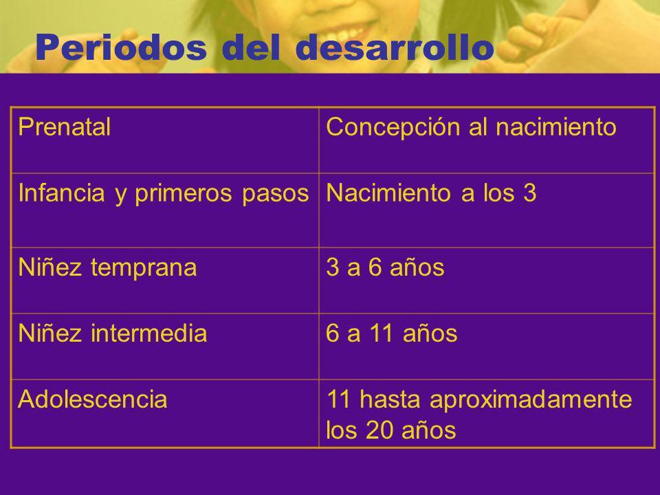Periodos del desarrollo PrenatalConcepción al nacimiento Infancia y primeros pasosNacimiento a los 3 Niñez temprana3 a 6 años Niñez intermedia6 a 11 años Adolescencia11 hasta aproximadamente los 20 años