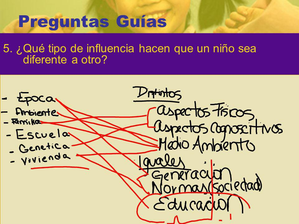 Preguntas Guías 5. ¿Qué tipo de influencia hacen que un niño sea diferente a otro?