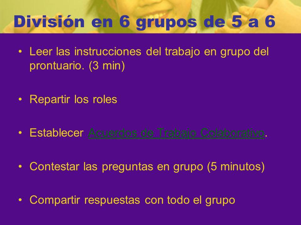 División en 6 grupos de 5 a 6 Leer las instrucciones del trabajo en grupo del prontuario.