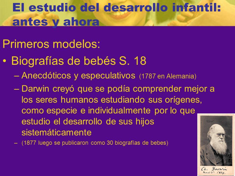 El estudio del desarrollo infantil: antes y ahora Primeros modelos: Biografías de bebés S.