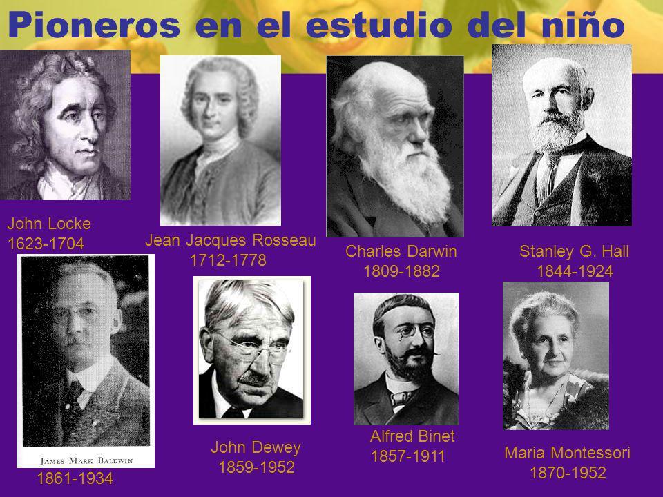 Pioneros en el estudio del niño John Locke 1623-1704 Jean Jacques Rosseau 1712-1778 Charles Darwin 1809-1882 Stanley G.