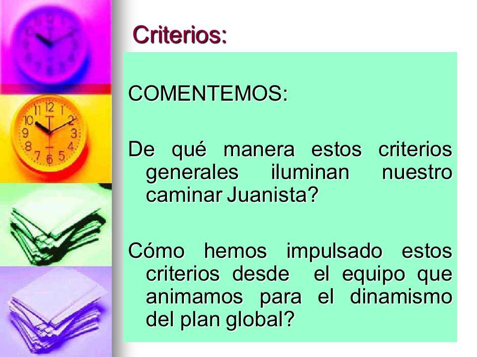 Criterios: COMENTEMOS: De qué manera estos criterios generales iluminan nuestro caminar Juanista? Cómo hemos impulsado estos criterios desde el equipo