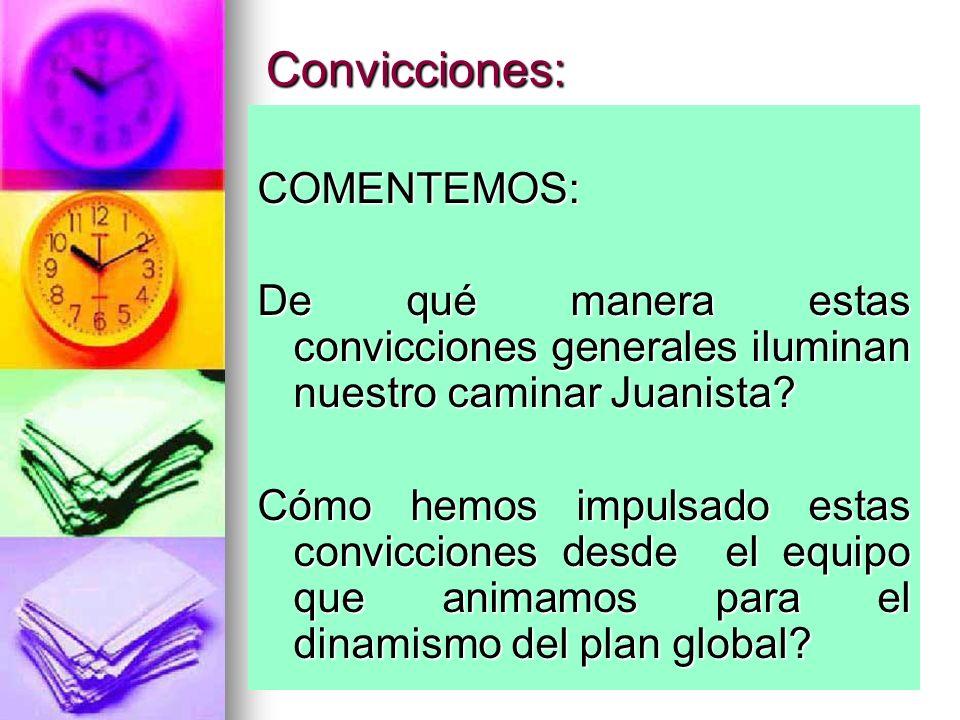 Convicciones: COMENTEMOS: De qué manera estas convicciones generales iluminan nuestro caminar Juanista? Cómo hemos impulsado estas convicciones desde