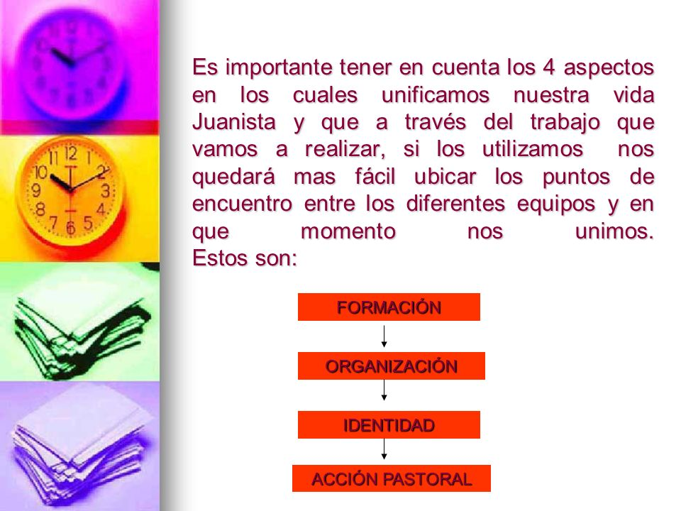 Es importante tener en cuenta los 4 aspectos en los cuales unificamos nuestra vida Juanista y que a través del trabajo que vamos a realizar, si los ut