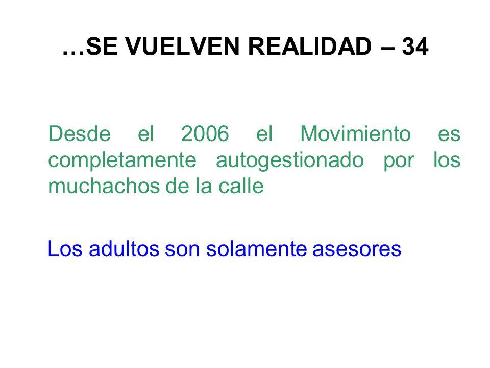 …SE VUELVEN REALIDAD – 34 Desde el 2006 el Movimiento es completamente autogestionado por los muchachos de la calle Los adultos son solamente asesores