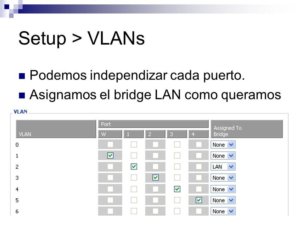 Setup > VLANs Podemos independizar cada puerto. Asignamos el bridge LAN como queramos