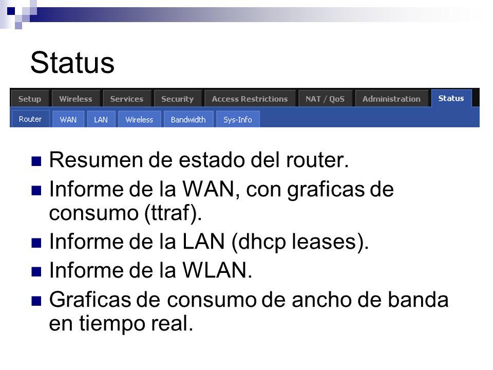 Status Resumen de estado del router. Informe de la WAN, con graficas de consumo (ttraf). Informe de la LAN (dhcp leases). Informe de la WLAN. Graficas