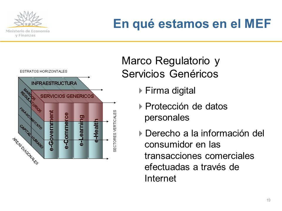 19 En qué estamos en el MEF Marco Regulatorio y Servicios Genéricos Firma digital Protección de datos personales Derecho a la información del consumidor en las transacciones comerciales efectuadas a través de Internet