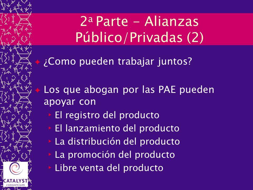 2 a Parte - Alianzas Público/Privadas (2) ¿Como pueden trabajar juntos? Los que abogan por las PAE pueden apoyar con El registro del producto El lanza