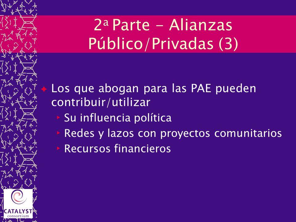 2 a Parte - Alianzas Público/Privadas (3) Los que abogan para las PAE pueden contribuir/utilizar Su influencia política Redes y lazos con proyectos co