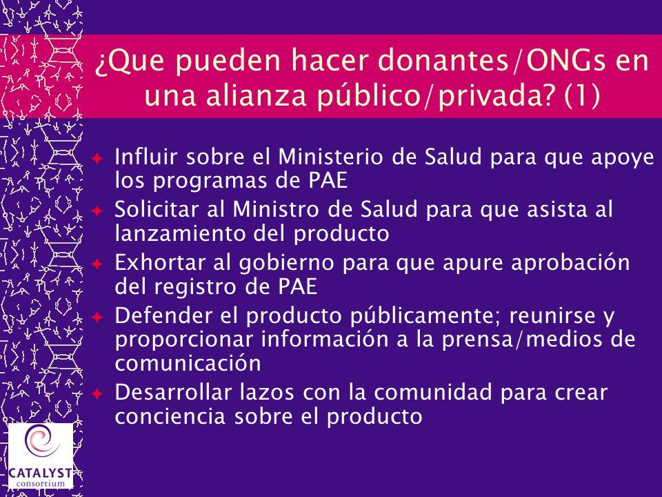 ¿Que pueden hacer donantes/ONGs en una alianza público/privada? (1) Influir sobre el Ministerio de Salud para que apoye los programas de PAE Solicitar