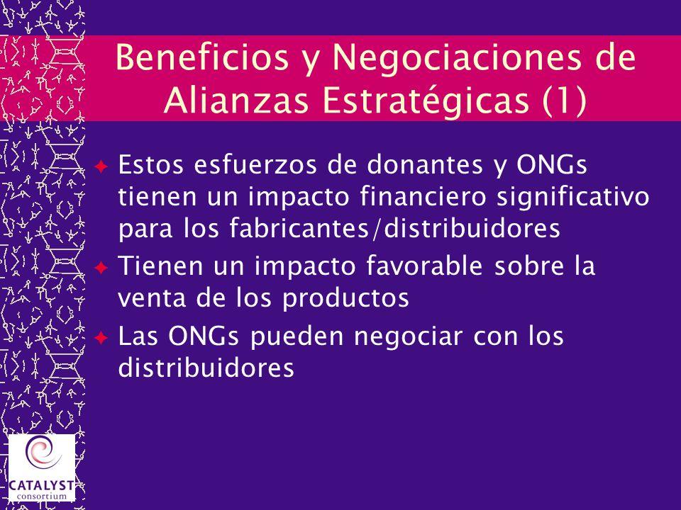 Beneficios y Negociaciones de Alianzas Estratégicas (1) Estos esfuerzos de donantes y ONGs tienen un impacto financiero significativo para los fabrica