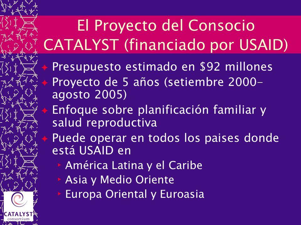 El Proyecto del Consocio CATALYST (financiado por USAID) Presupuesto estimado en $92 millones Proyecto de 5 años (setiembre 2000- agosto 2005) Enfoque
