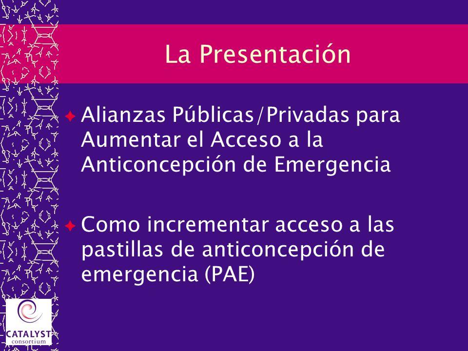 La Presentación Alianzas Públicas/Privadas para Aumentar el Acceso a la Anticoncepción de Emergencia Como incrementar acceso a las pastillas de antico