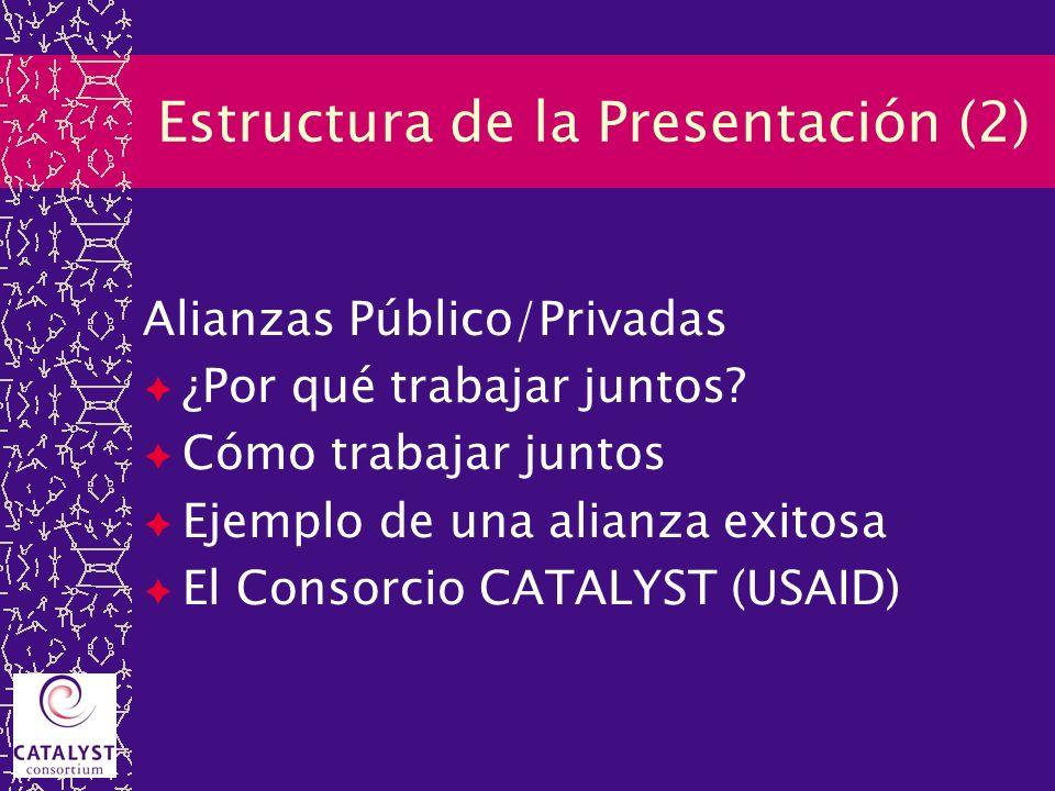 Estructura de la Presentación (2) Alianzas Público/Privadas ¿Por qué trabajar juntos? Cómo trabajar juntos Ejemplo de una alianza exitosa El Consorcio